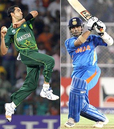 Umar Gul and Sachin Tendulkar