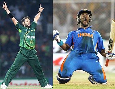 Shahid Afridi and Yuvraj Singh