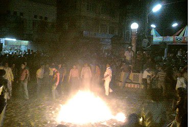Indian fans in Bhilwara, Rajasthan burst crackers after India's victory on Wednesday