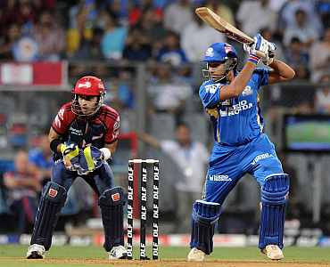 Rohit Sharma plays a shot during his kock against Delhi Daredevils