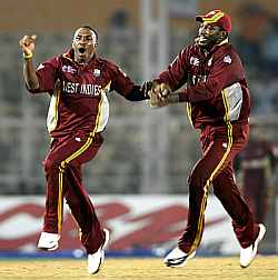 Bravo (left) and Chris Gayle