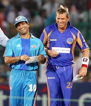 Shane Warne with Sachin Tendulkar