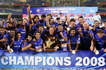 Rajasthan Royals celebrate winning IPL 2008