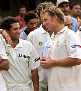 Tendulkar and Warne during an India-Australia Test