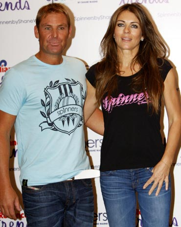 Shane Warne with Liz Hurley