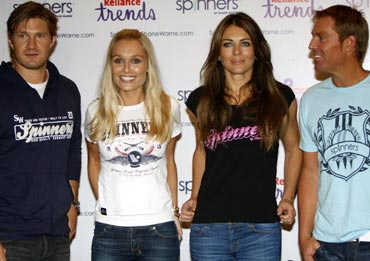 Shane Warne, Liz Hurley with Shane Watson and a friend
