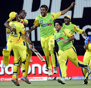 Chennai Super Kings players celebrate victory