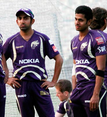 Manoj Tiwary (right) with Gautam Gambhir