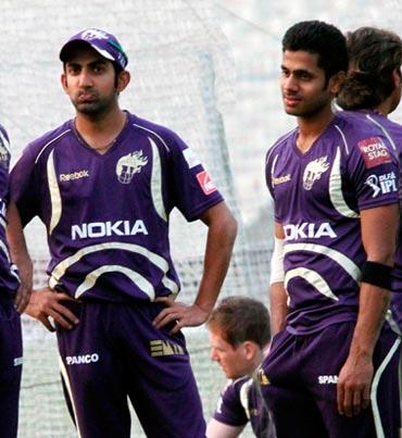 Manoj Tiwary (right) with Gautam Gambhir