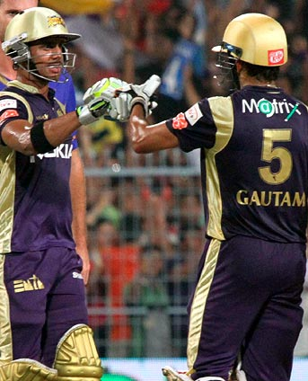 Manoj Tiwary (left) with Gautam Gambhir