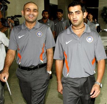 Gautam Gambhir (right) with Virender Sehwag