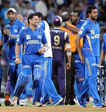 Mumbai Indians players celebrate after winning their Eliminator match against Kolkata Knight Riders