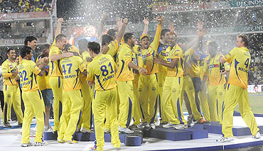 Players from Chennai Super Kings celebrate after winning the IPL-4 final