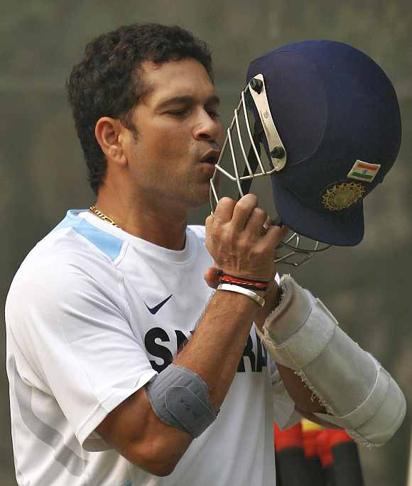 Sachin Tendulkar during a practice session at the Feroz Shah Kotla ground