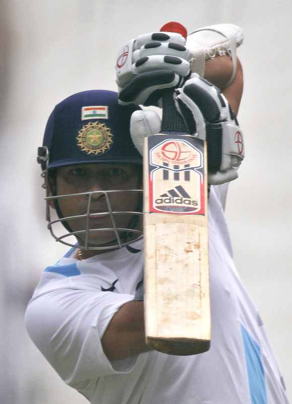 Sachin Tendulkar during a practice session at Feroz Shah Kotla
