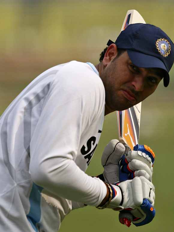 Yuvraj Singh plays a flick shot during a practice session at Feroz Shah Kotla
