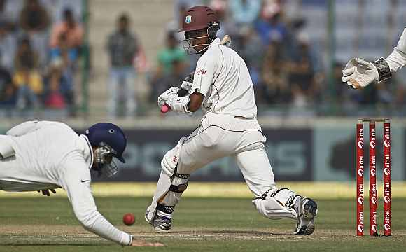 Kraigg Brathwaite plays a shot during his knock against India