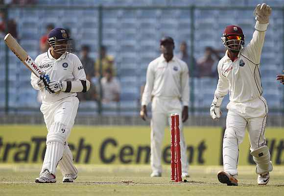 Carlton Baugh appeals for the Virender Sehwag's wicket