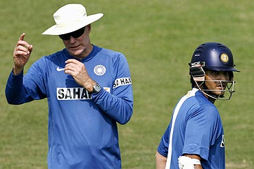 Greg Chappell with Sourav Ganguly