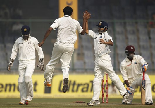 Ashwin celebrates after dismissing Samuels