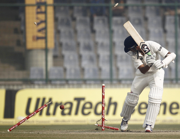 Rahul Dravid is clean bowled by Fidel Edwards