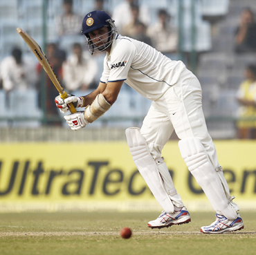 V V S Laxman plays a shot during the fourth day