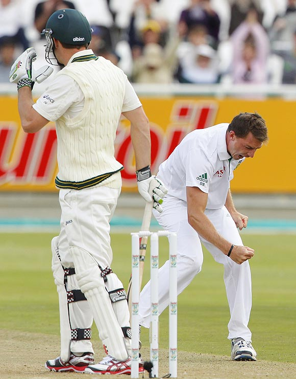 Dale Steyn celebrates after dismissing Australia's Shaun Marsh