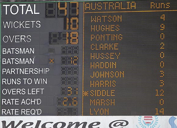 The scoreboard reflects Australia's second innings collapse during the second day of their first Test against South Africa on Thursday