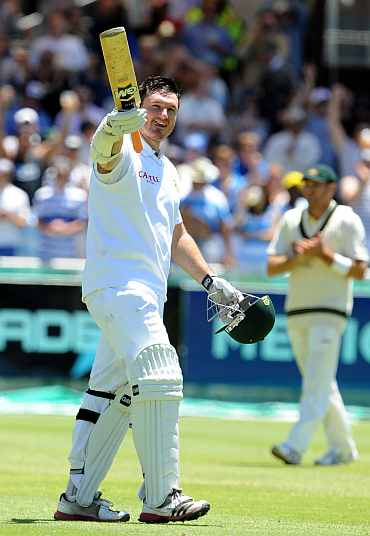 South Africa skipper Graeme Smith celebrates after completing his century