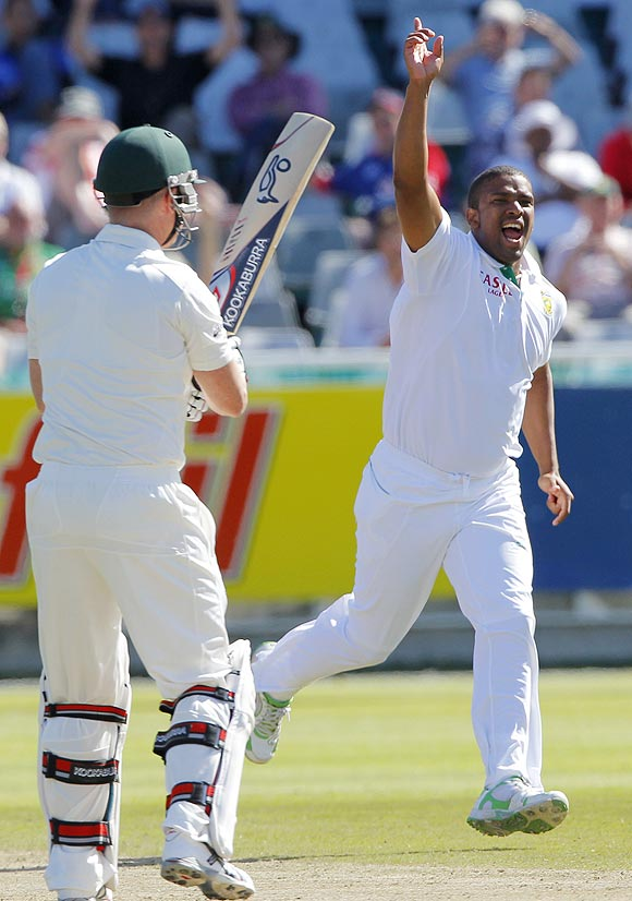 South Africa's Vernon Philander celebrates after taking the wicket of Australia's Brad Haddin