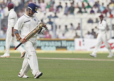 Sachin Tendulkar walks back to the pavilion after his dismissal on the first day of the second Test