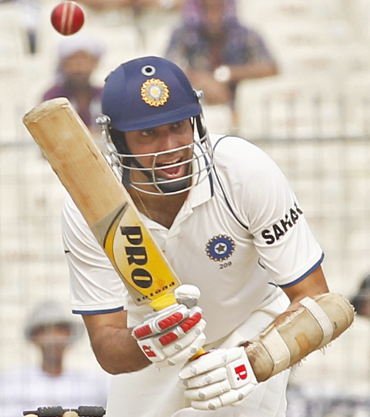 Laxman plays a shot on the second day