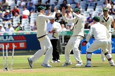 Peter Siddle celebrates after picking up a wicket