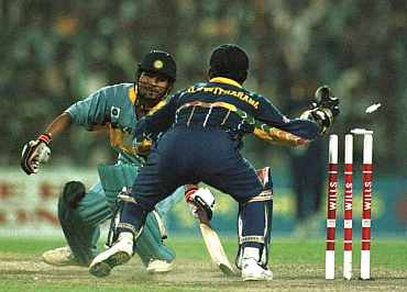 Sachin Tendulkar is stumped by Sri Lankan wicketkeeper during the 1996 World Cup semi-final