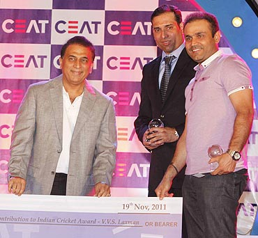 VVS Laxman, Virender Sehwag and Sunil Gavaskar at the awards