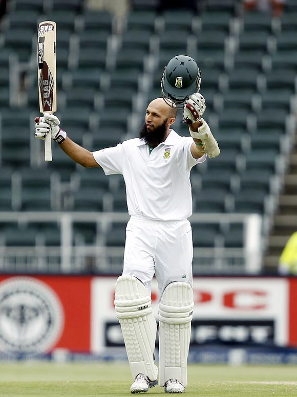Hashim Amla celebrates on completing his century