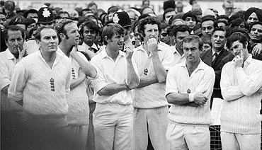 Members of the England cricket team (from left) Basil D'Oliveira, Ray Illingworth, Derek Underwood, Brian Luckhurst, John Snow, John Edrich and Alan Knott