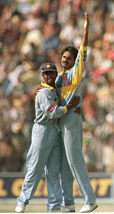 Javagal Srinath celebrates after picking up a wicket