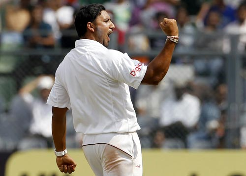 Ravi Rampaul celebrates after dismissing India opener Gautam Gambhir