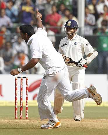 Ravi Rampaul celebrates after picking up Sachin Tendulkar's wicket