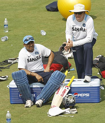Virender Sehwag with coach Duncan Fletcher