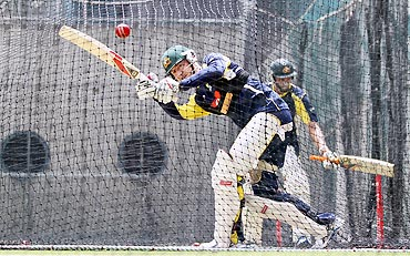 Michael Clarke bats in the nets on Wednesday, the eve of the first Test between Australia and New Zealand