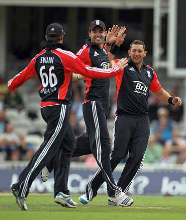 James Anderson, Graeme Swann and Tim Bresnan
