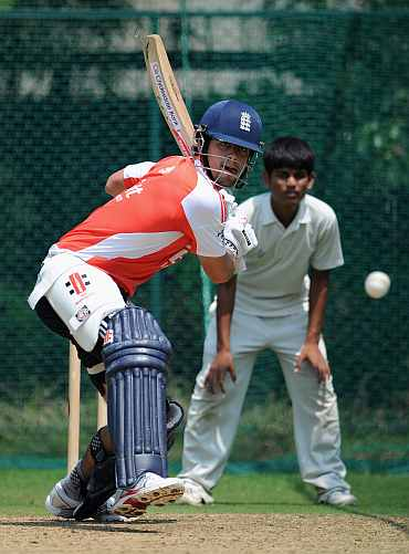 Alastair Cook bats during a nets session in Hyderabad