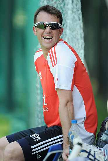 Graeme Swann during a practice session in Hyderabad