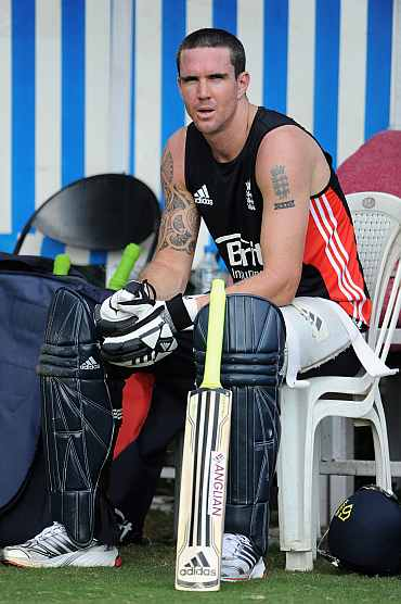 Kevin Pietersen takes a break during the practice session in Hyderabad