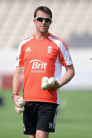 Graeme Swann during the practice session in Hyderabad