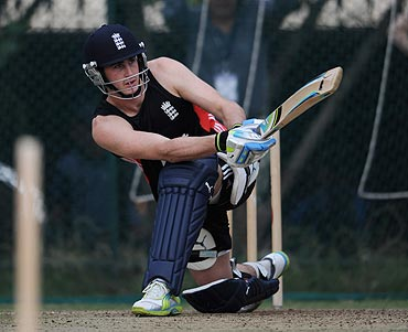 England's Craig Kieswetter bats in the nets during a training session