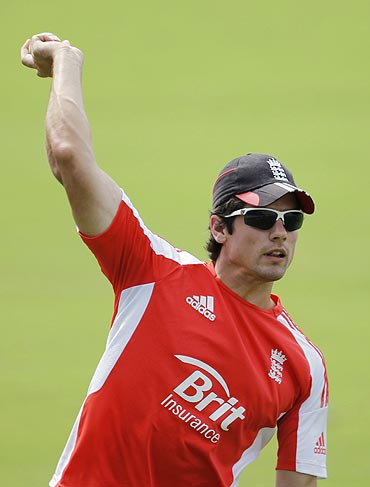 Alastair Cook during a fielding drill in Hyderabad on Thursday