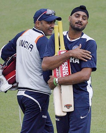 Virender Sehwag and Harbhajan Singh